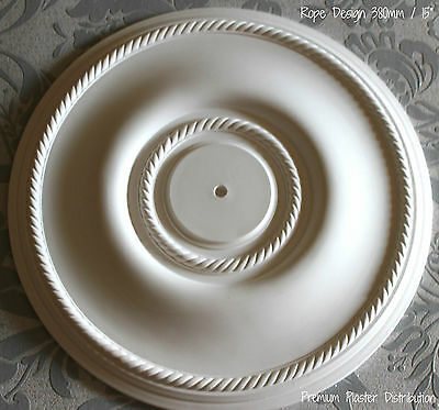 """Traditional Georgian Plaster Rope Ceiling Rose  380 mm / 15"""" Hand Made"""