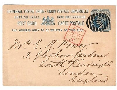 1881 India foreign postcard to England cancelled by London postmark
