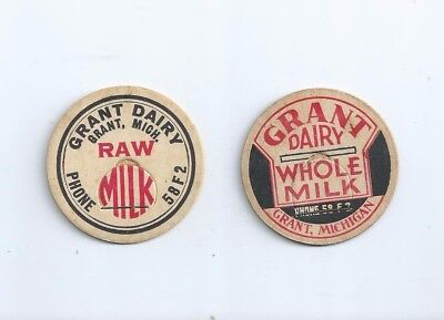 "Two different ""Grant Dairy""  Grant, Michigan  milk bottle caps."