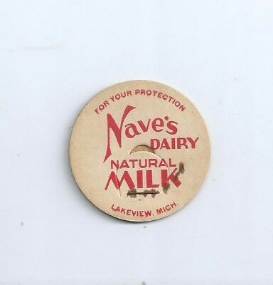 """Nave`s Dairy""  Lakeview, Mich.  milk bottle cap."