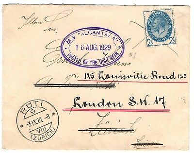 1929 posted on high seas cover to Zurich then London with 2 1/2d PUC franking