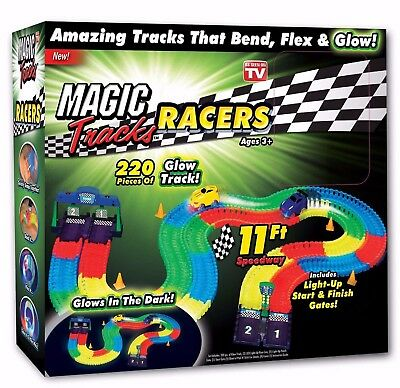 Magic Tracks 220-Piece Glow In The Dark Racetrack & Car Play Set - As Seen on TV