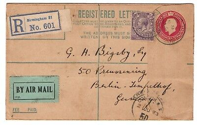 1923 GB registered airmail envelope to Germany