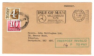 1978 Freepost Invalid - Isle of Man to GB with 14p postage due