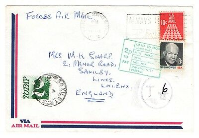 1972 underpaid letter from USA to GB with 2p postage due