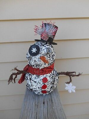 Primitive Halloween SNOWMAN Christmas ooak sculpture art doll