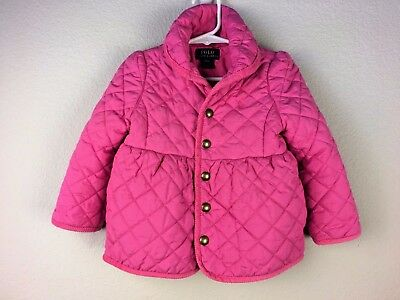 RALPH LAUREN  Toddler Girl Pink Quilted Puffer Coat 2/2T **stained as is
