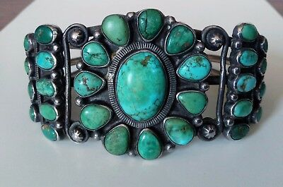 Early 1930's Navajo Silver 30 Cab Cerrillos Turquoise Cluster Bracelet 2.43ozt
