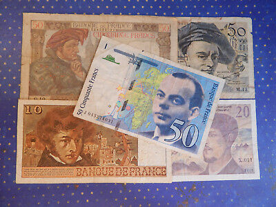 French Currency Lot 10. 20 & 50 Franc Notes (5 Notes in all)