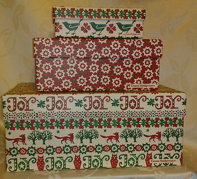 Emma Bridgewater JOY High Quality nested 3 gift boxes with lids & matching tags