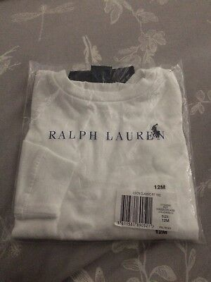 Baby Boys Ralph Lauren White Long Sleeved Tshirt Aged 12 Months New With Tags