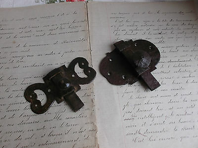 French antique hardware  iron latch lock slide bolt solid c.1900 set of 2