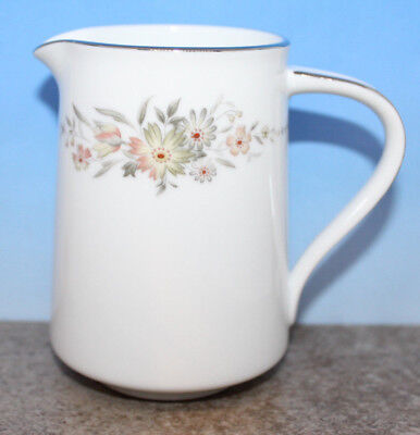 Noritake Creamer 6504 Japan Fine China Pink Grey Flowers Platinum Band Vintage
