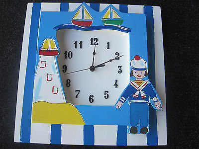 AS NEW Hand Made Baby Designer Clock in Nautical Theme in exc cond! POST or P/Up