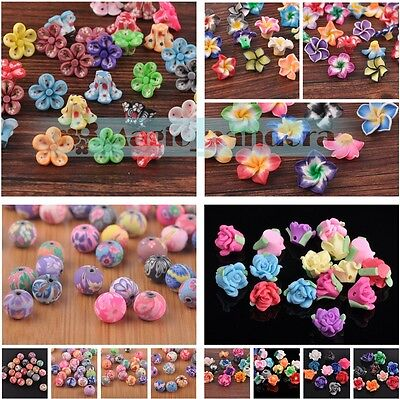 Charm 10/15/30pcs 6~30mm Multi-Color Polymer Fimo Clay Flower Spacer Loose Beads