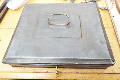 Antique Victorian Or Edwardian Zinc Metal Lockable Cash Box Tin Or Deed With Key