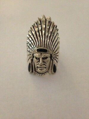 Mens / Womens Sterling Silver Handmade Indian Chief Head Onyx Ring
