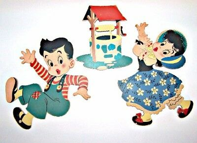 Vintage 1940's Dolly Toy Co Jack & Jill Nursery Rhyme Wall Art Plaques
