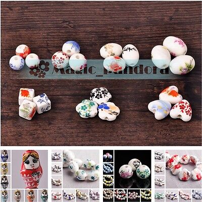 Charms 3/5/10pcs Flowers Pattern Ceramic Porcelain Loose Spacer Colorized Beads