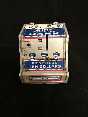 Vintage Dime Bank J. Chein & Co Dime Register Ten Dollars Tin Litho