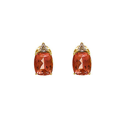 H. Stern 18K Yellow Gold 2.5 Ct Imperial Topaz 0.50 Ct Diamond Earring 7.1 Grams