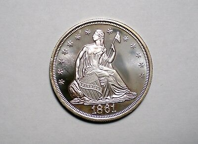 1861 Confederate States America 50 Cents Seated Liberty Silver Coin Gallery Mint