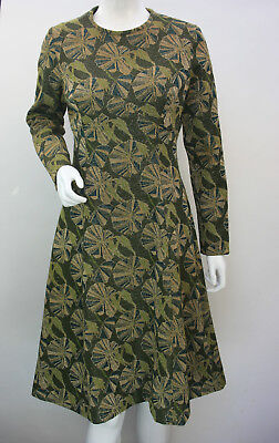 VINTAGE 70's Metallic Green Floral A line Dress Fitted by Crimplene Size 12 14