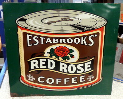 Vintage 1950's  1960's Metal RED ROSE COFFEE Advertising Sign  gas oil tea