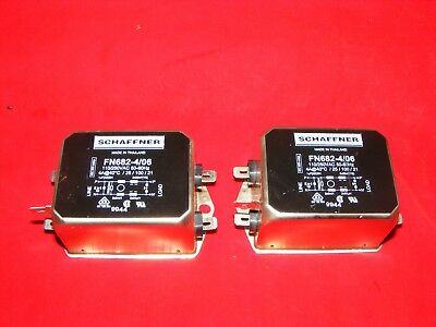 Two (2) New Schaffner Fn682-4/06 Line Filters