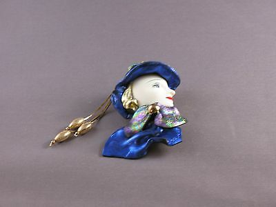 Blue colored Lady Head brooch
