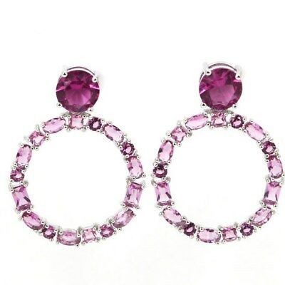 Stunning Pink Tournaline Woman's Engagement Silver Earrings