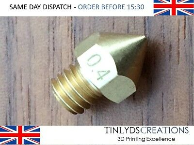 Brass MK8 Extruder Nozzle 0.1//0.2//0.4//0.5-1.0mm For 1.75//3mm Filament 3D Printer