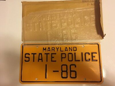 Vintage Maryland State Police Trooper Highway Patrol License Plate