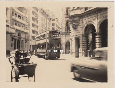 Trolley, Tram, Hong Kong, China - Early 1951, Small Photograph 8.5cm by 6.5cm