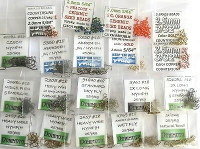 525 micro nymph & midge FLY TYING KIT ( hooks & beads ) 2457 206BL 2305 3769