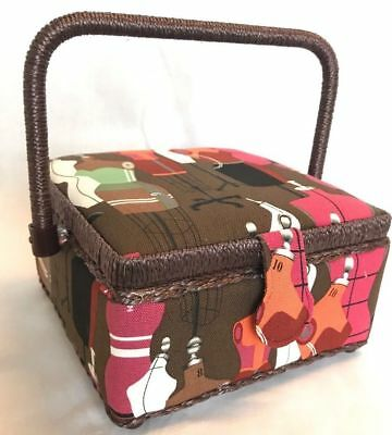 Sewing Box Basket Small - Brown & Red - Dressmakers Pattern Craft Box Storage