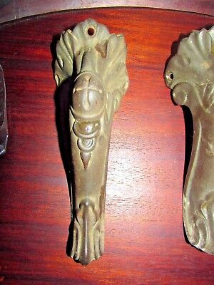 Set 3 Vintage/Antique Piano Stool Bench Seat CAST IRON LEGS -- Beautiful Detail!