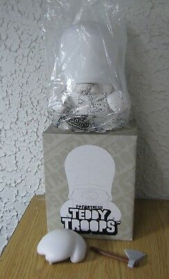 Fortress white Teddy Troops vinyl toy in bag in box 10 1/2 inch