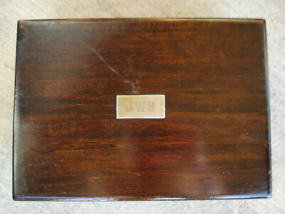 Vintage mahogany white glass lined cigar humidor, silver plaque,  buy it now