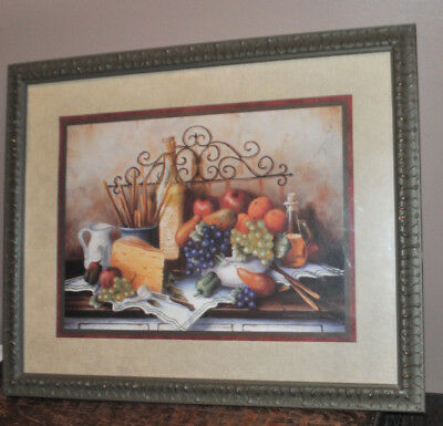 Pretty Home Interiors Fruit Grapes Cheese Wine Wall Plaque Picture
