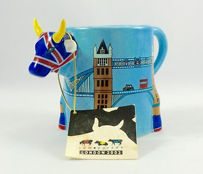 Cow Parade #6703 Cower Bridge Mug, Very Good Rare Cup with Tag.
