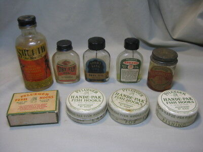 Lot of Vintage Fishing Oil Bottles, Hook Tins and Box