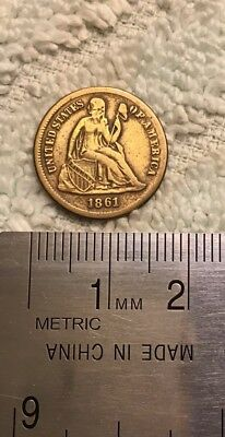 US, 1861, Seated Liberty, Gold Plated Dime