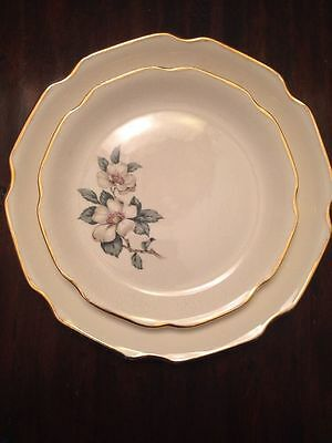 Lot Of 71 PC Mid Century Salem China Made In USA White Magnolia Flower 22k Gold