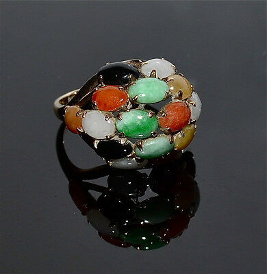 Vintage Chinese 14 Kt Gold and Multicolor Jade Jadeite Dome Ring Size 8