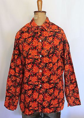 VINTAGE 1970'S MAYFAIR ~ Unisex Bright Orange Red Floral Corduroy Funky Skirt M
