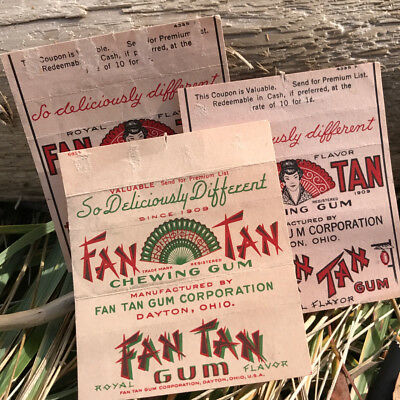 Fan Tan Gum 3 Vintage Wrappers