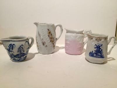 Antique Creamers, lot of 4 creamers from different makers and patterns