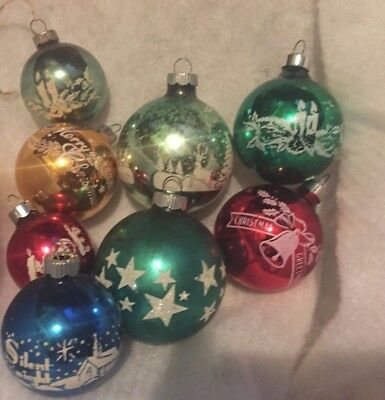 8 Vintage Shiny Brite And Noel Glass Stenciled Christmas Ornaments