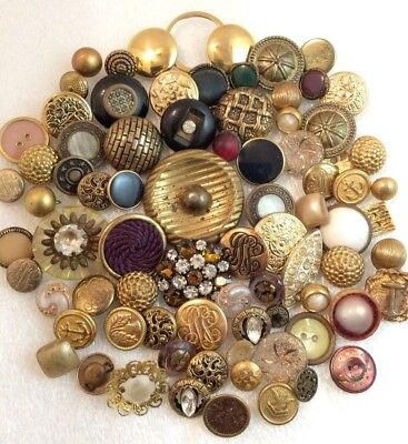 Lot 80+ Vintage Antique BUTTONS METAL Gold Tone Rhinestone Brass Glass